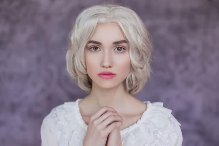 Woman wearing wig