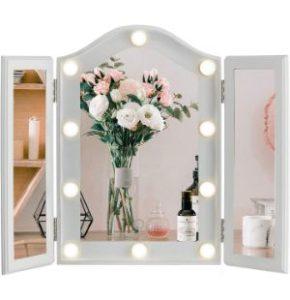LUXFURNI Vanity Lighted Tri-fold Makeup Mirror